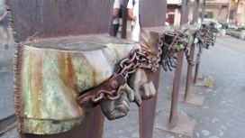 """Sculpture by Mimo Paladino dedicated to victims of Holocaust, and """"potential targets"""" fascism, and rascism."""