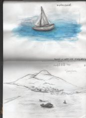 Castel dell'Ovo sketches. Every water color and use of water in this book is with holy water
